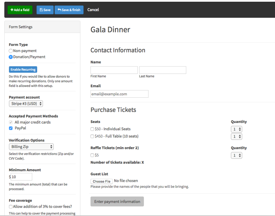 Sample payment form