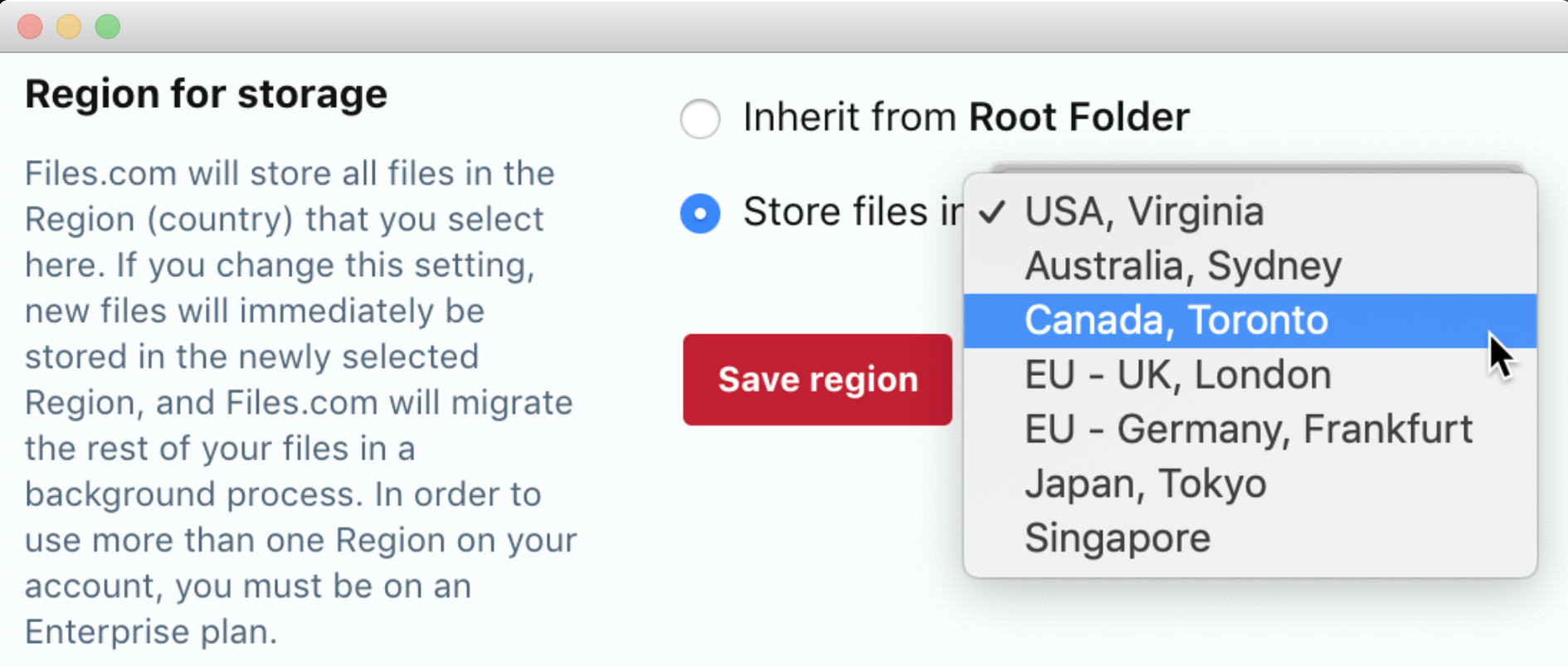 Regional Storage