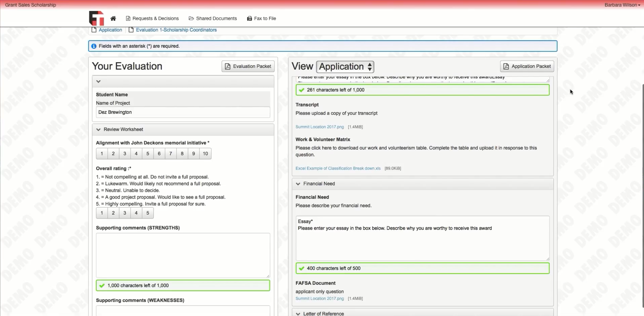When reviewing applications, view a side-by-side review form with scoring questions on the left, and the applicant's application on the right