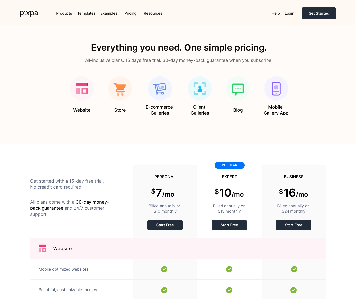 Pixpa - Affordable and simple pricing plans