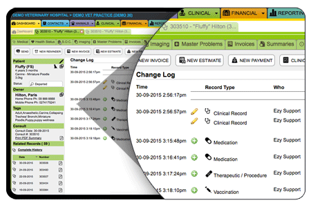 ezyVet's change log creates an audit trail so that data is never lost