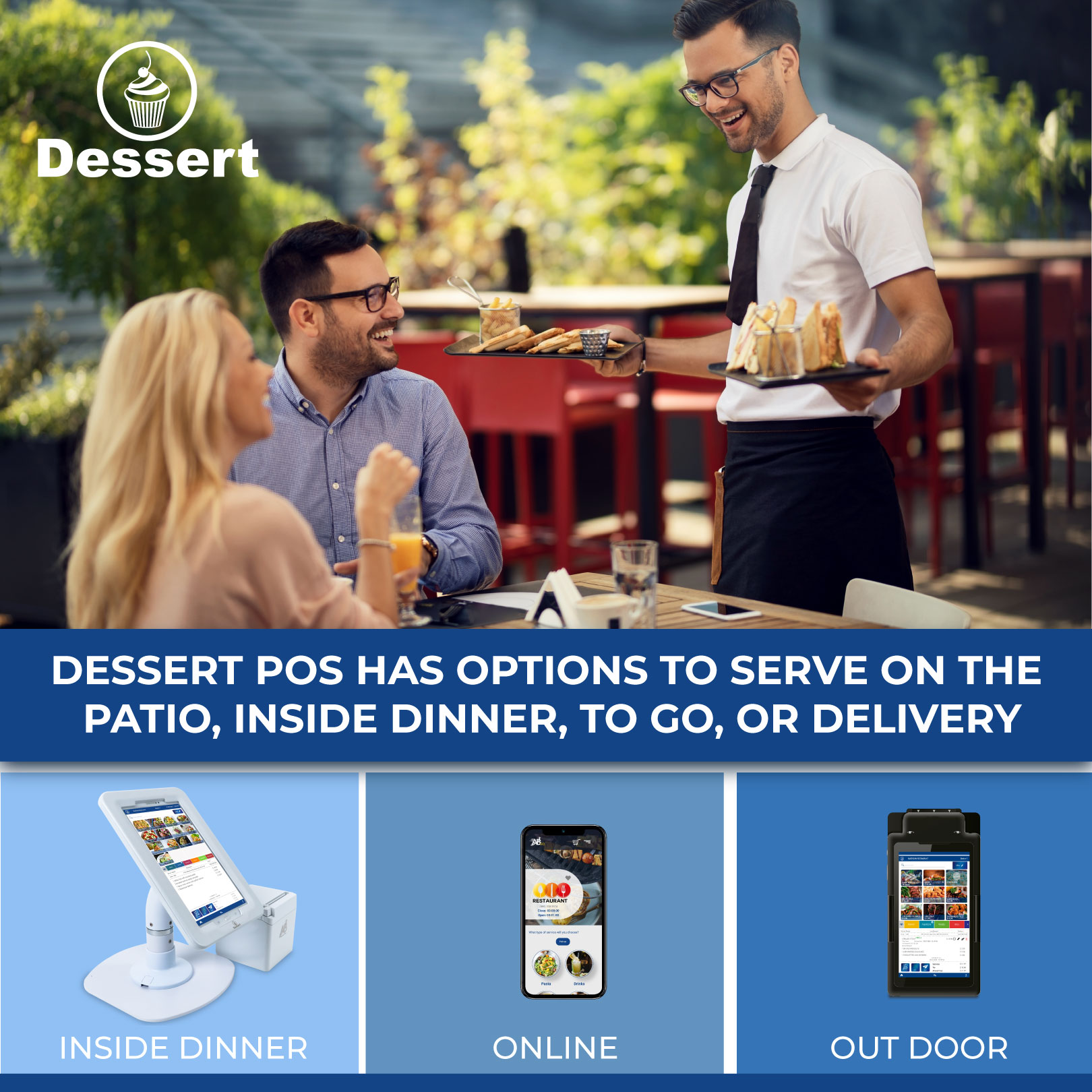 Dessert Point of Sale combines powerful cloud-based software, payment processing,  and beautiful hardware, all built for the restaurant industry