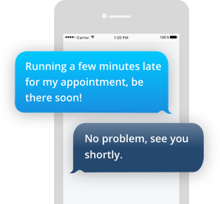 Communicate with your customers via text and choose from a library of suggested responses for quick replies.