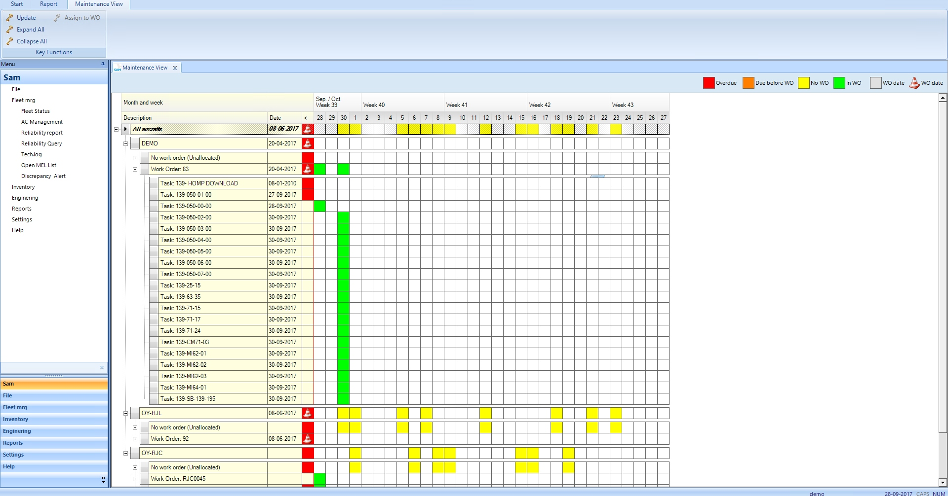 SAM Aviation Maintenance Software maintenance schedule screenshot