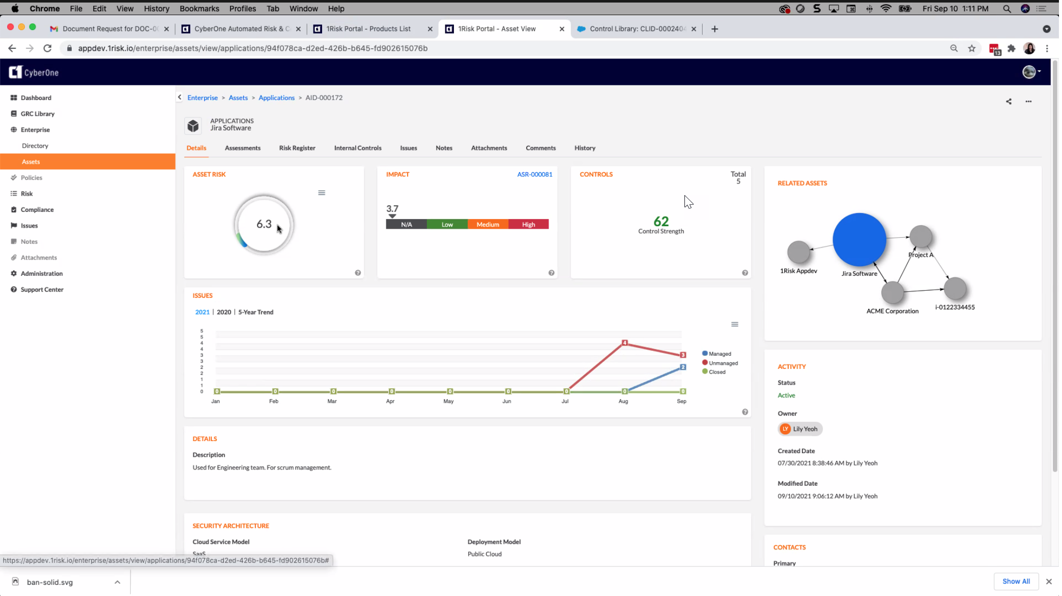 CyberOne Software - A single, interconnected, integrated, system for integrated risk and compliance.