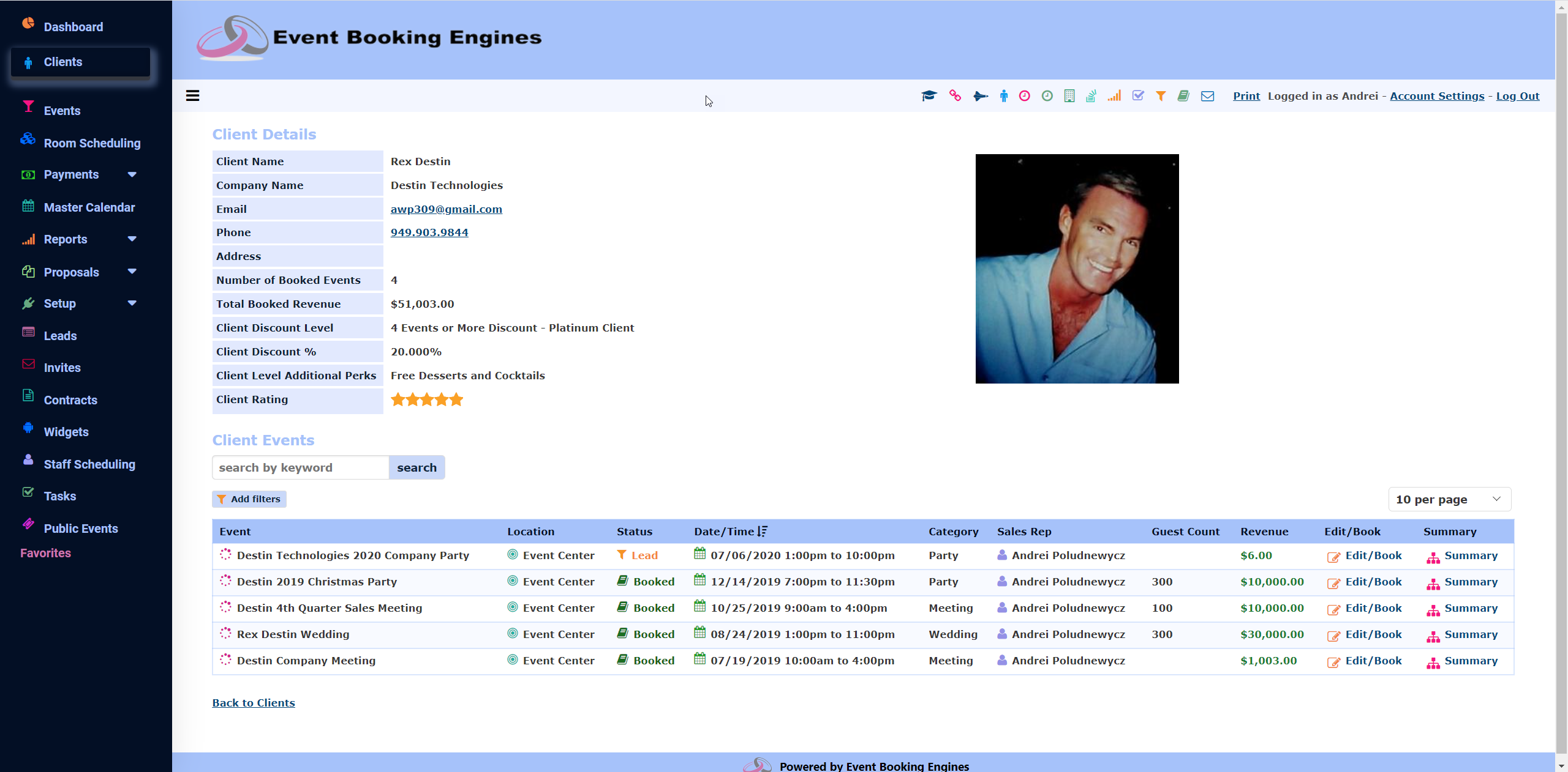 Event Booking Engines Software - Client Details