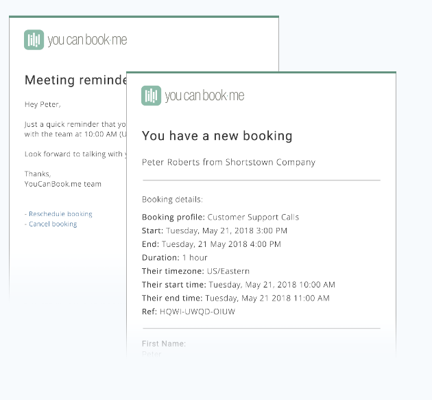 Send booking confirmations & reminders