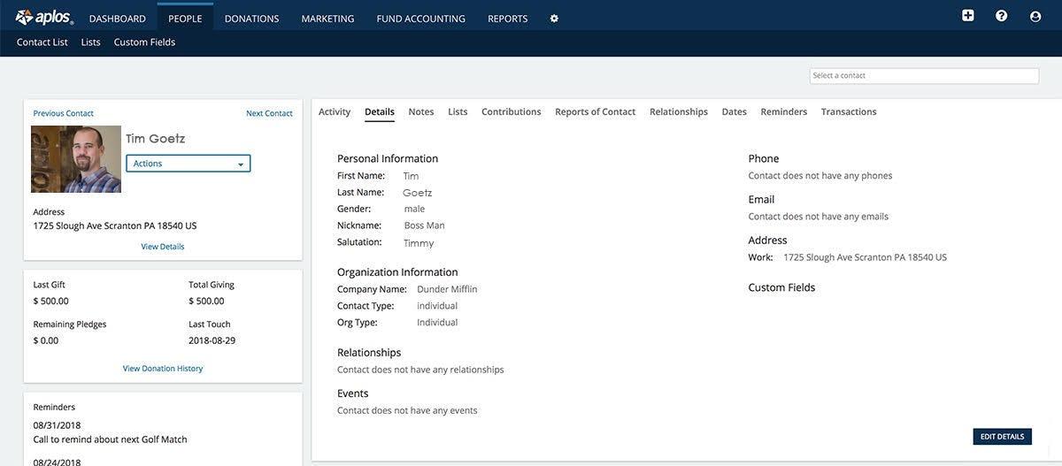 Aplos Software - Contacts