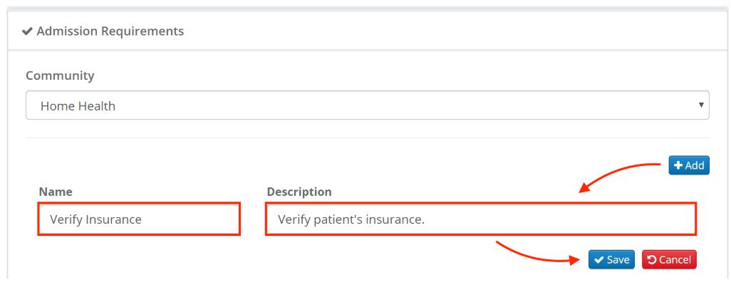 Enquire CRM create admission checklist screenshot