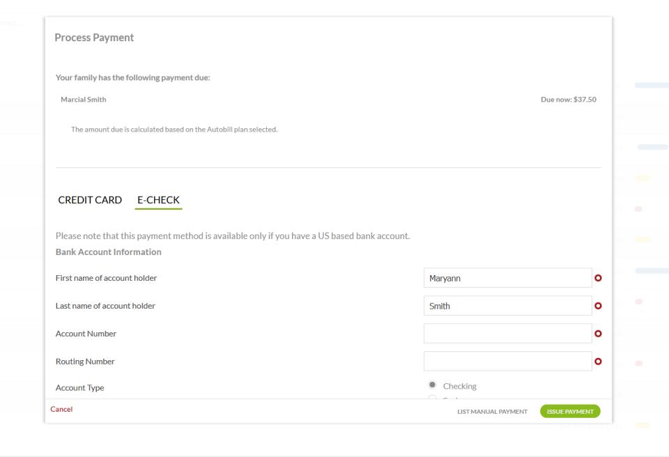 Regpack screenshot: Payment checkout form