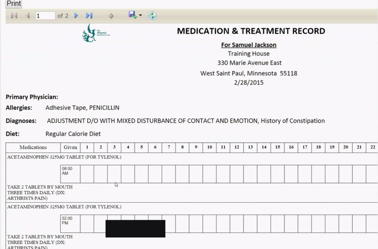 Medication and treatment record