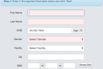 gEHRiMed screenshot: Input new patients quickly with only the most important fields obligatory. Smart lookup is also inbuilt to analyze the database for existing matches and avoid patient duplication