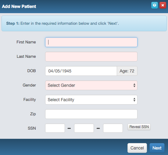 Input new patients quickly with only the most important fields obligatory. Smart lookup is also inbuilt to analyze the database for existing matches and avoid patient duplication