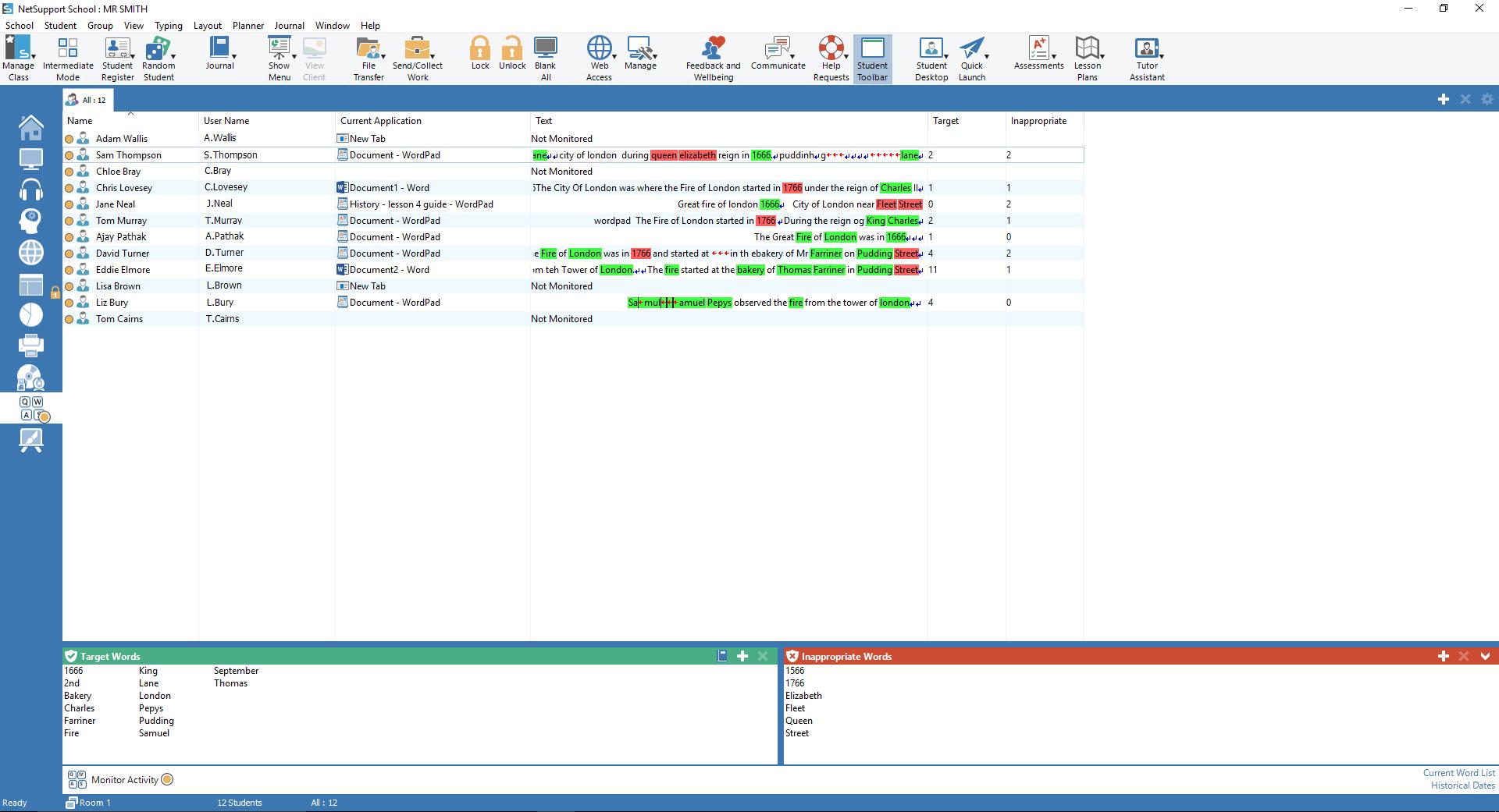 NetSupport School - Keyboard Monitoring