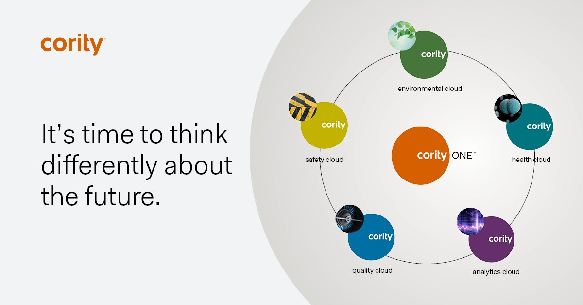 Cority screenshot: CorityOne™ is our integrated SaaS platform spanning the full spectrum of Environmental, Health, Safety, Quality, and Analytics across your organization to help your people and business thrive.