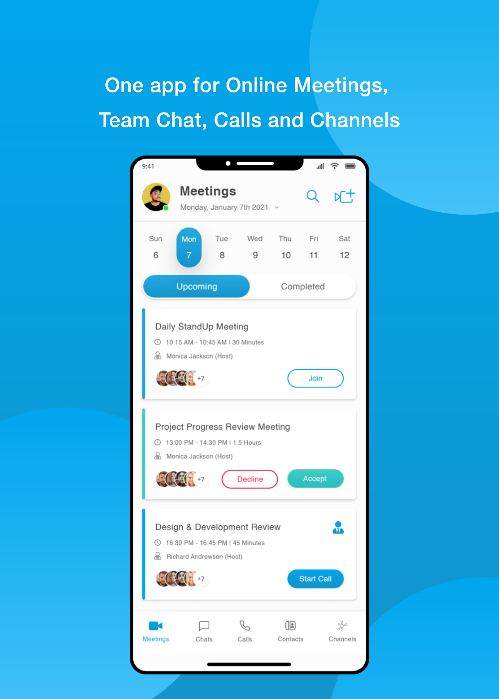 One app for online meetings, Team chat, calls and channels