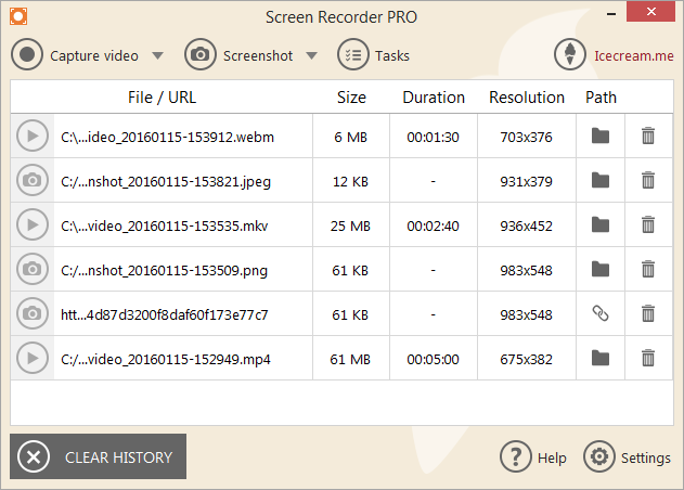 Icecream Screen Recorder files