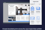 Lucidpress screenshot: Create branded print stores for your team and exhibit templates they can customize and print.