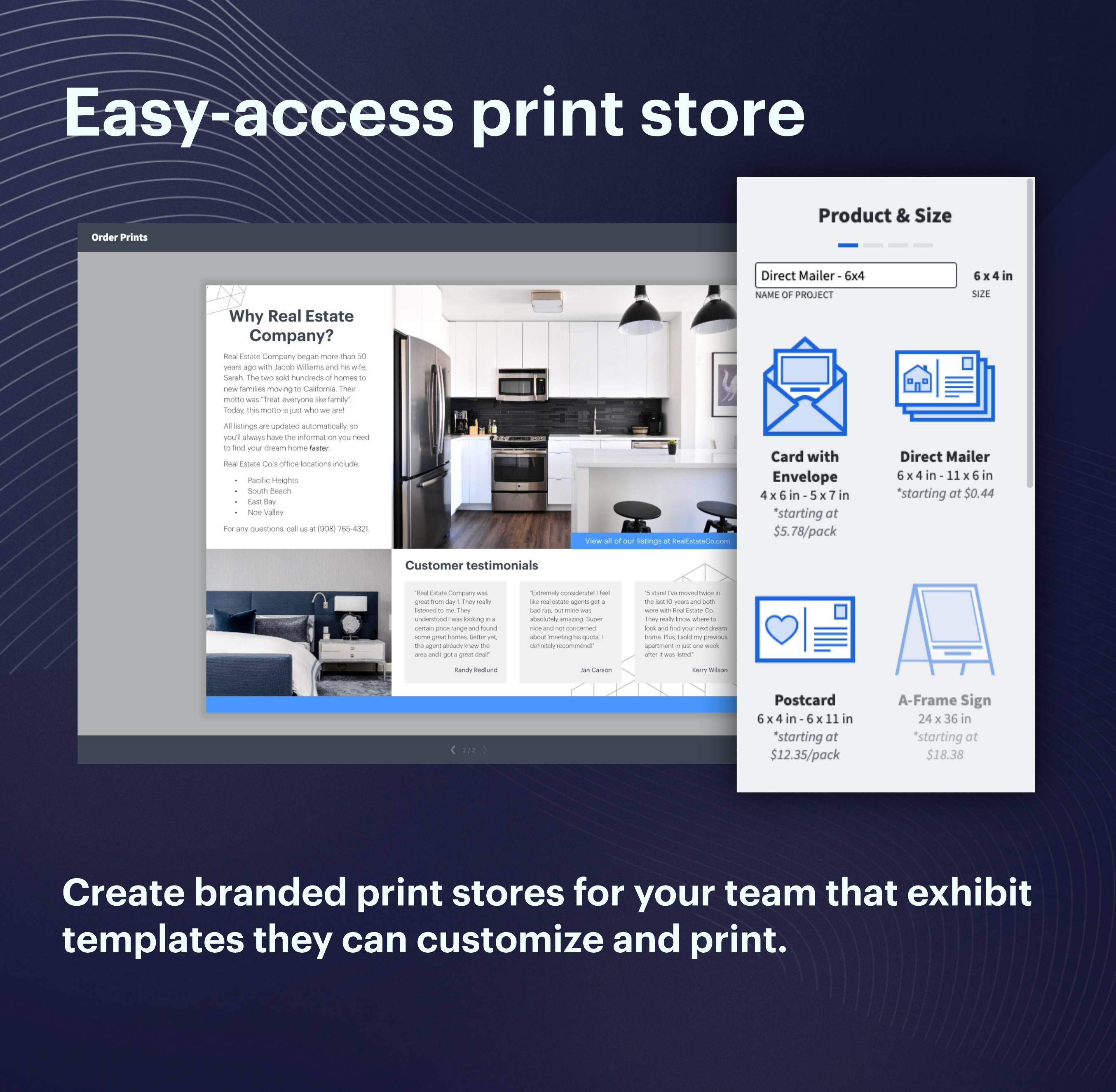 Create branded print stores for your team and exhibit templates they can customize and print.