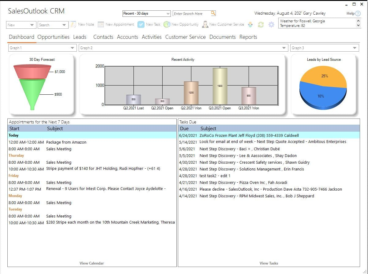 SalesOutlook CRM Software - Outlook CRM Dashboard. See your week at a glance. FInd items you have been recently working on. Create new items all within the Outlook interface.