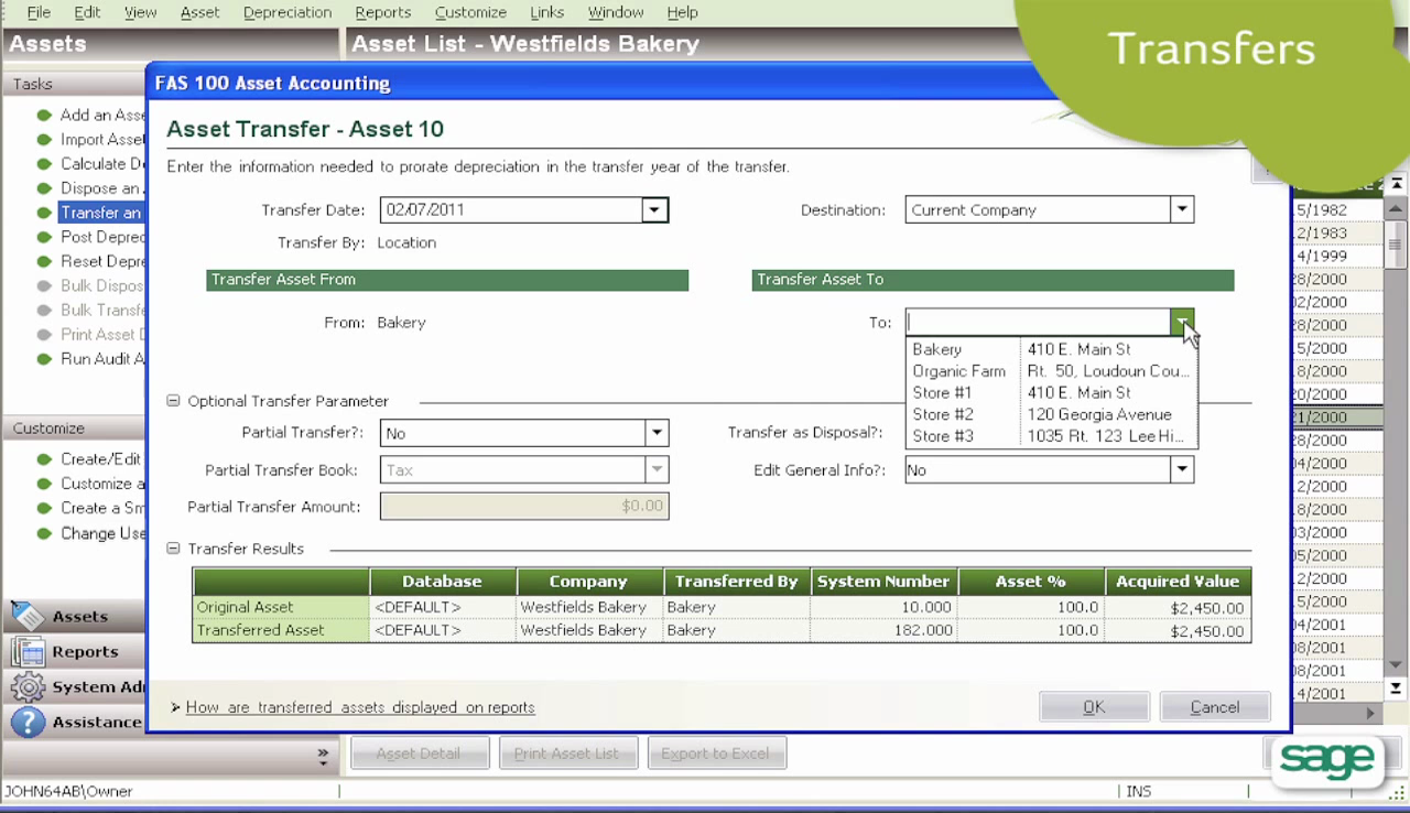 The 'Assets Transfer' form allows users to record asset transfer details