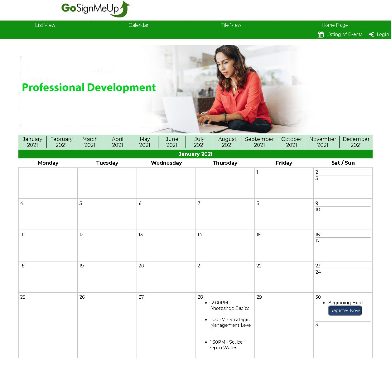 Display courses in a Calendar view