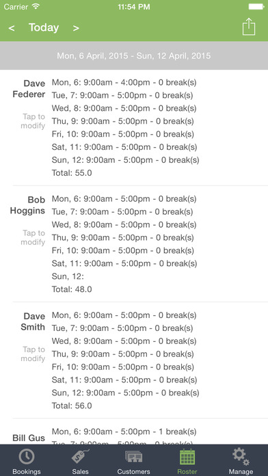 Employees can use the mobile app to view their schedule on-the-go