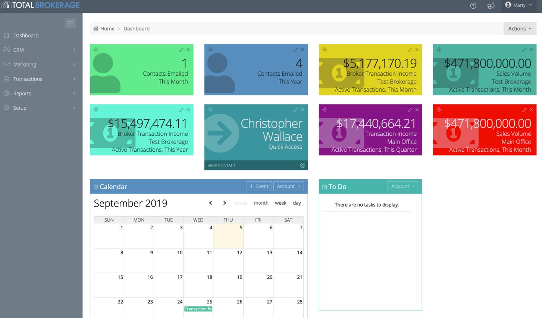 TotalBrokerage Software - TotalBrokerage dashboard