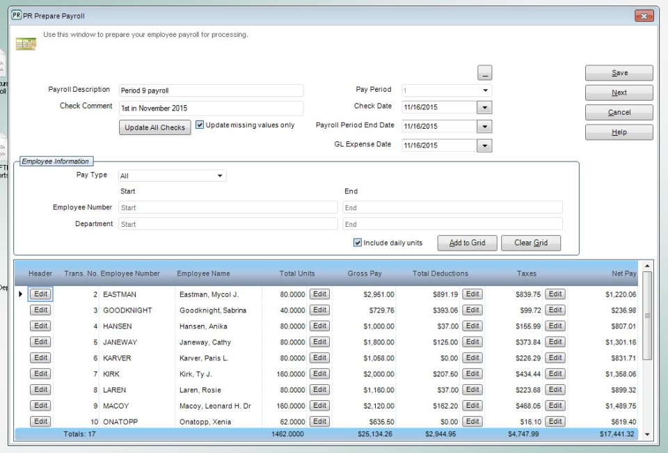 The payroll processing grid is used to prepare employee payroll for processing