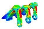 SimScale screenshot: Structural analysis of the engine bracket of an aircraft engine with SimScale FEA