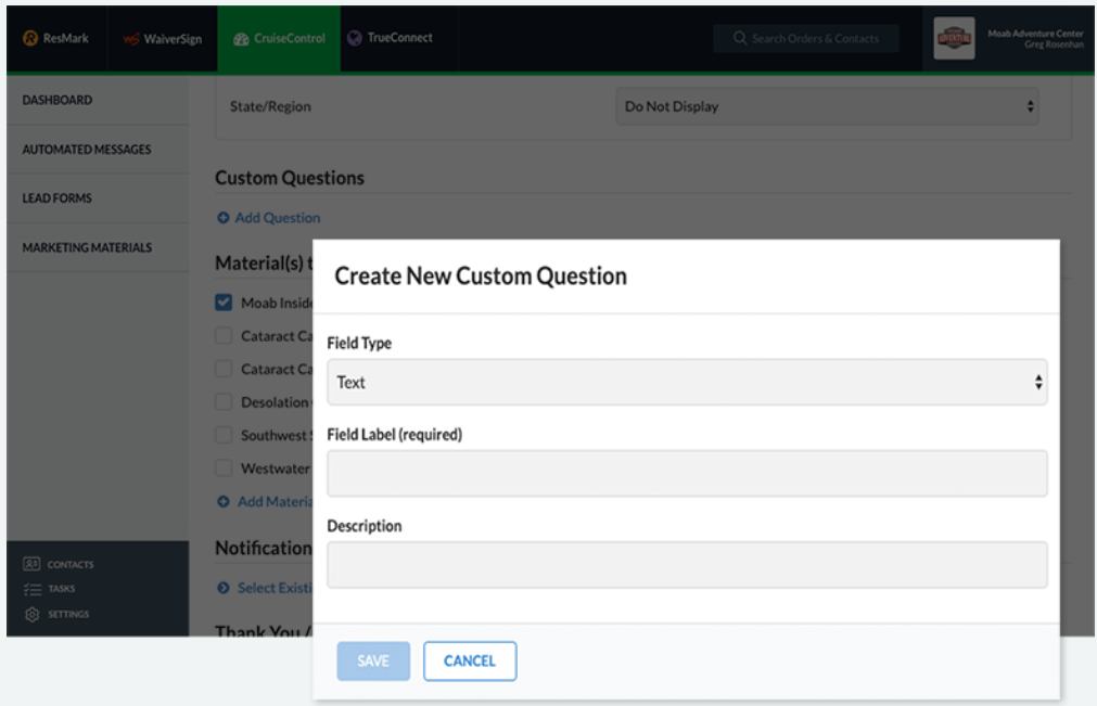 RESMARK questionnaire creation