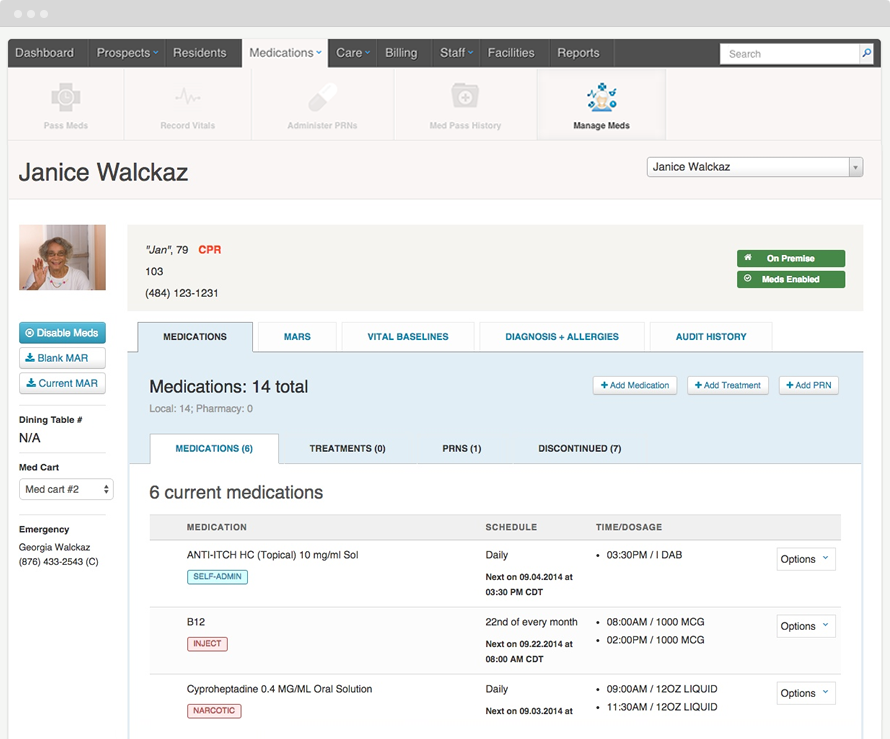 Manage a resident's medications and MARs in real-time