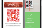 Captura de pantalla de Showpass: Users simply scan the Showpass QR code to instantly check in any tickets or products under their account