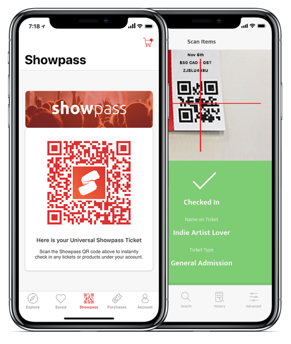 Users simply scan the Showpass QR code to instantly check in any tickets or products under their account