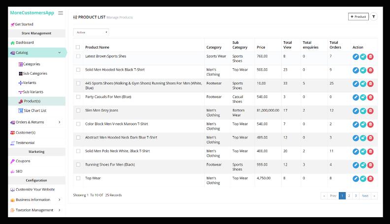 MoreCustomersApp product lists