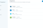 Fivetran screenshot: Fivetran supports integrations with Postgres, Stripe, Xero, & Zendesk, allowing users to pull data from their web service & databases in batch updates