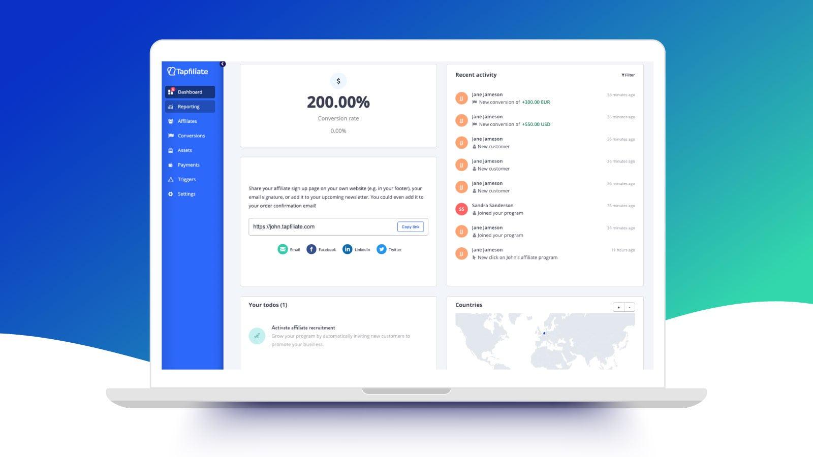 Tapfiliate Software - User-friendly dashboard