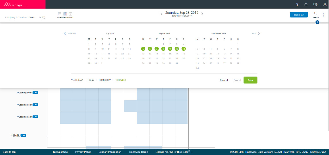 Dock Appointment Scheduling: Select and view activities for specific dates.