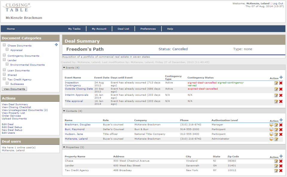Closing Table's deal summary provides users with information on event dates, status, contingency type, and more.