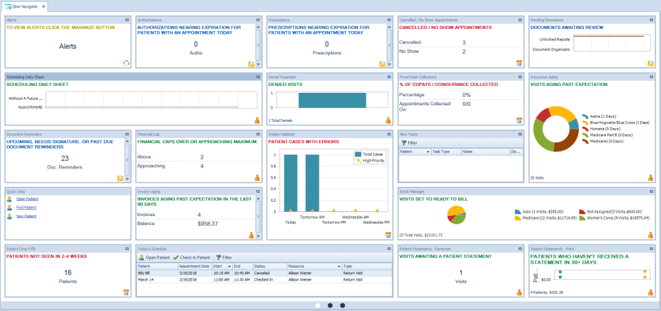 TheraOffice clinic navigator screenshot