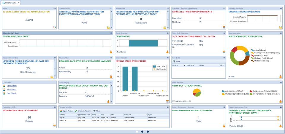 TheraOffice screenshot: TheraOffice clinic navigator screenshot