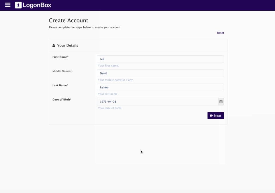 LogonBox account creation