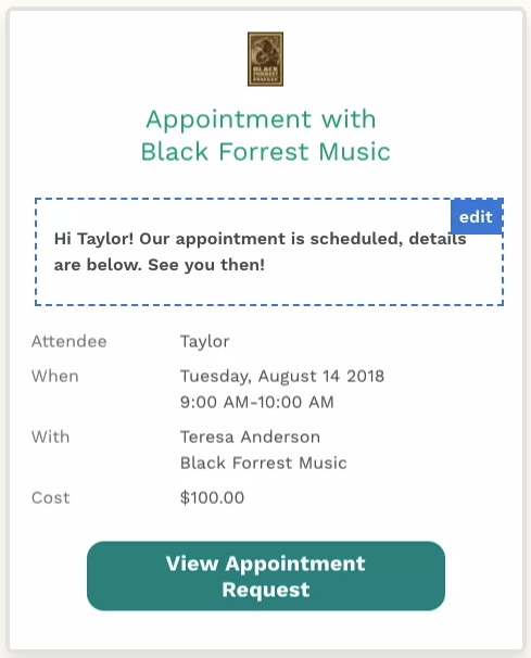 Customizable appointment confirmations