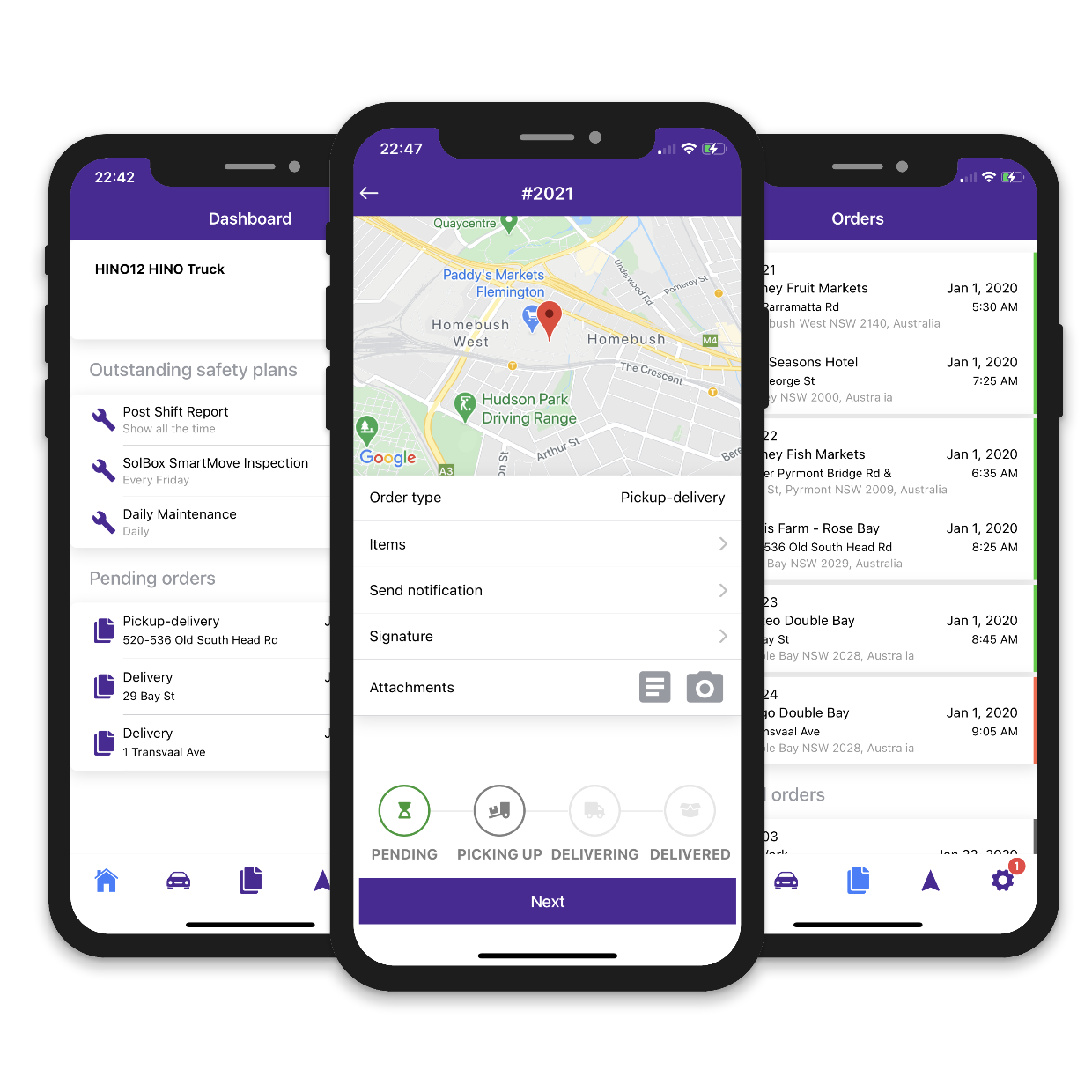 Driver Delivery App, Live driver tracking, ETA notifications, Heavy Navigation, Digital Signatures, Images, Comments, Payments, GPS location,  Check in/out, PDF POD Creation, Real-time updates, Offline Capability, Driver messaging