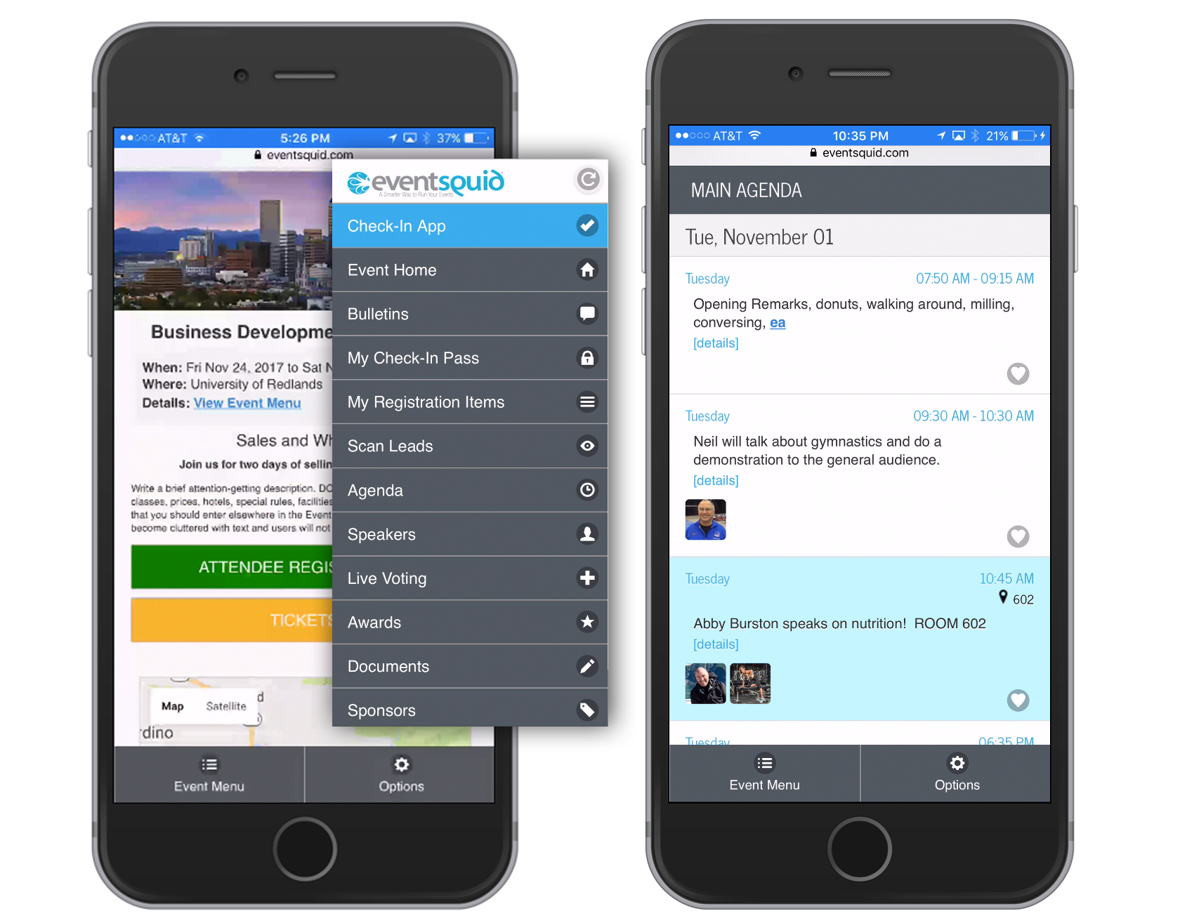 A pre-built mobile Eventsquid app is available without any app store installation required, running inside the web browser of any smart device