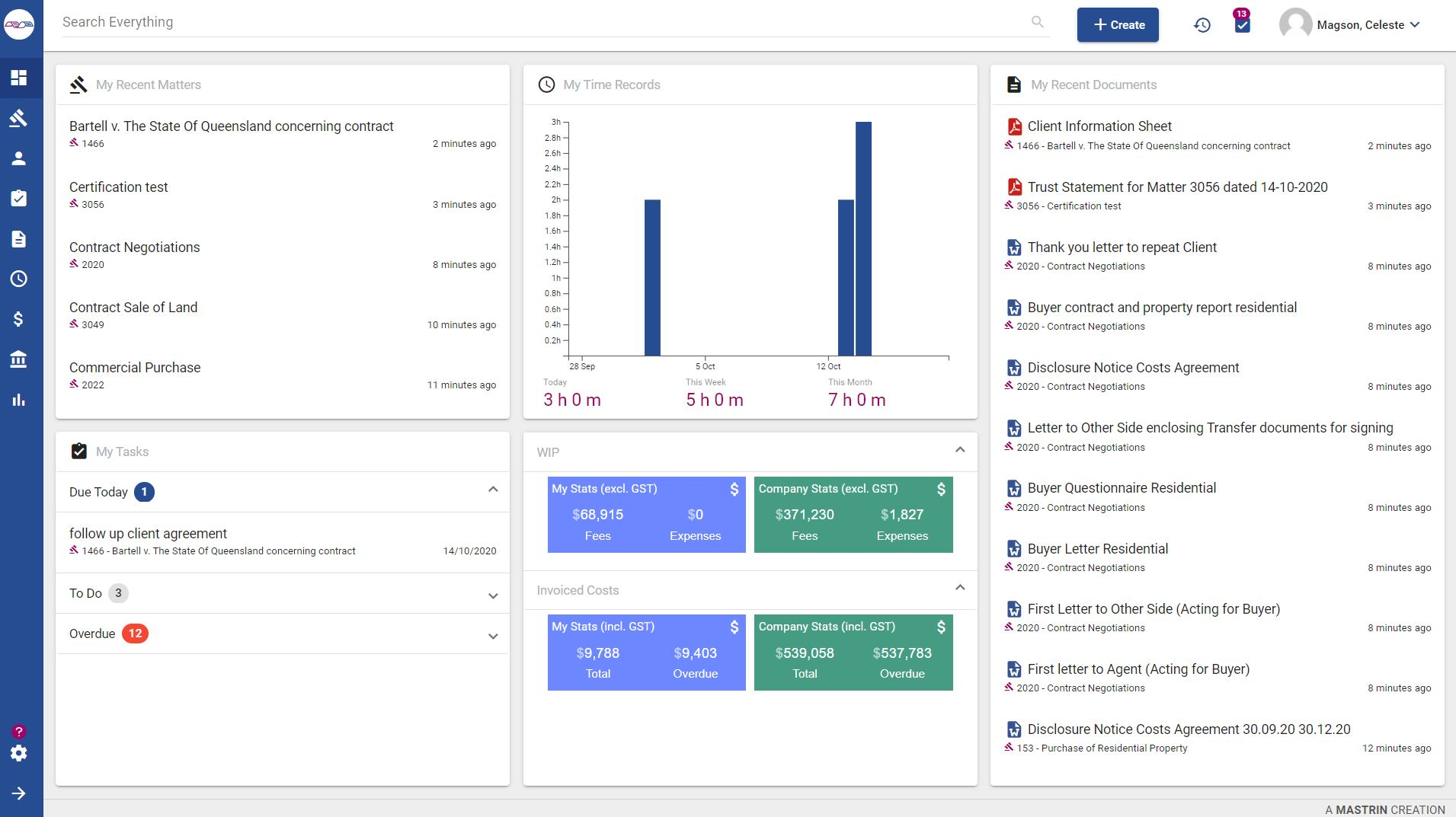 The mattero dashboard displays a global overview of your matters, time records, documents, tasks and WIP. mattero's suite of reports delivers everything you need to keep you informed of productivity, performance and compliance.