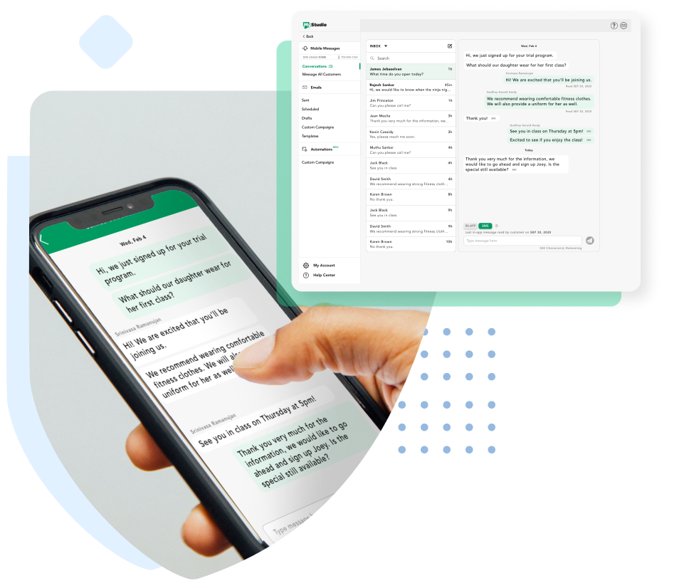 Manage email campaigns, text campaigns, and more.