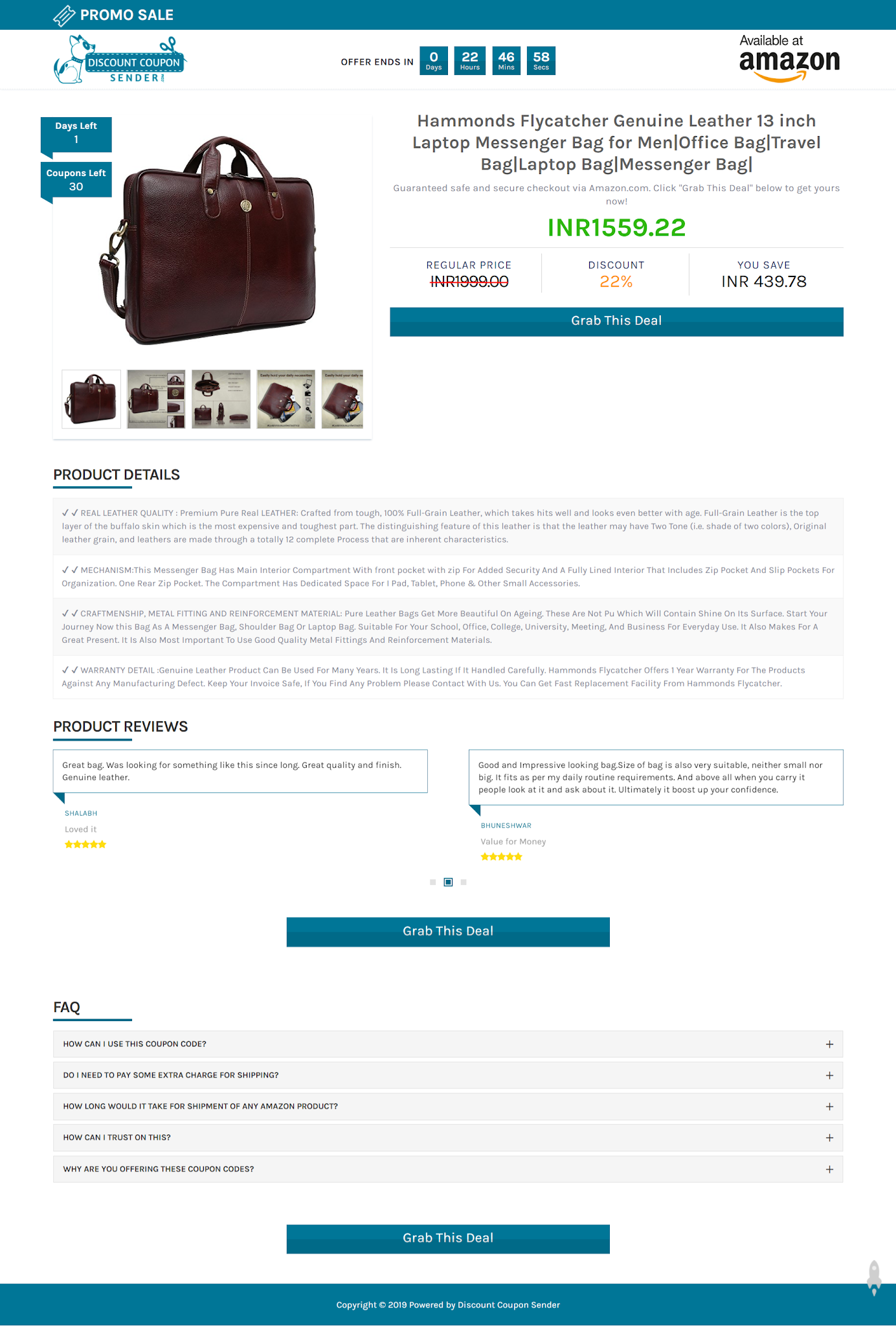 Discount Coupon Sender landing page template screenshot