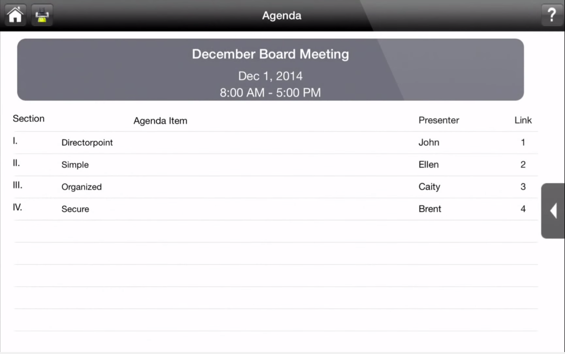 View a list of agenda items and presenters