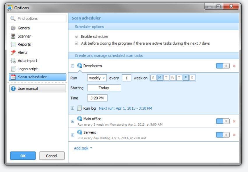 Total Network Inventory Software - Scan scheduler